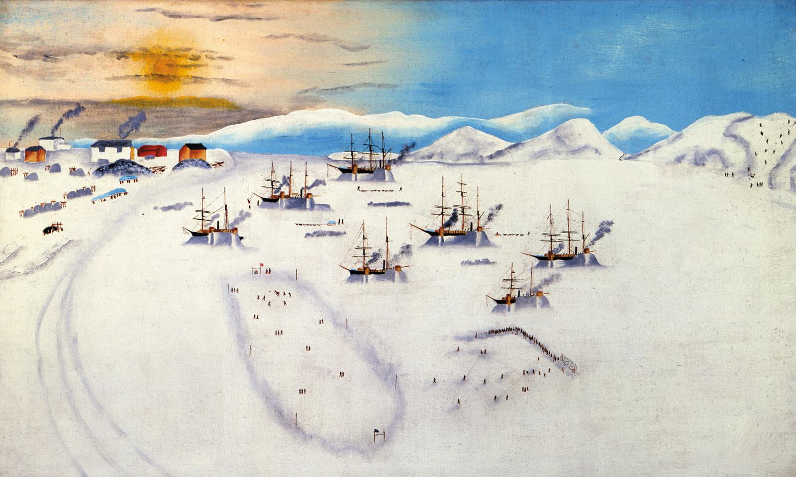 Whaling ships wintering at Herschel Island; painting by John Bertonccini, circa 1894