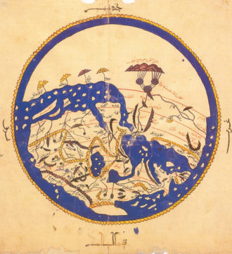 A map of the world from Entertainment for He Who Longs to Travel the World, a geographical book from 1154 by the Arab scholar Muhammad al-Idrisi. The map shows the south at the top, as was customary in early Islamic cartography.