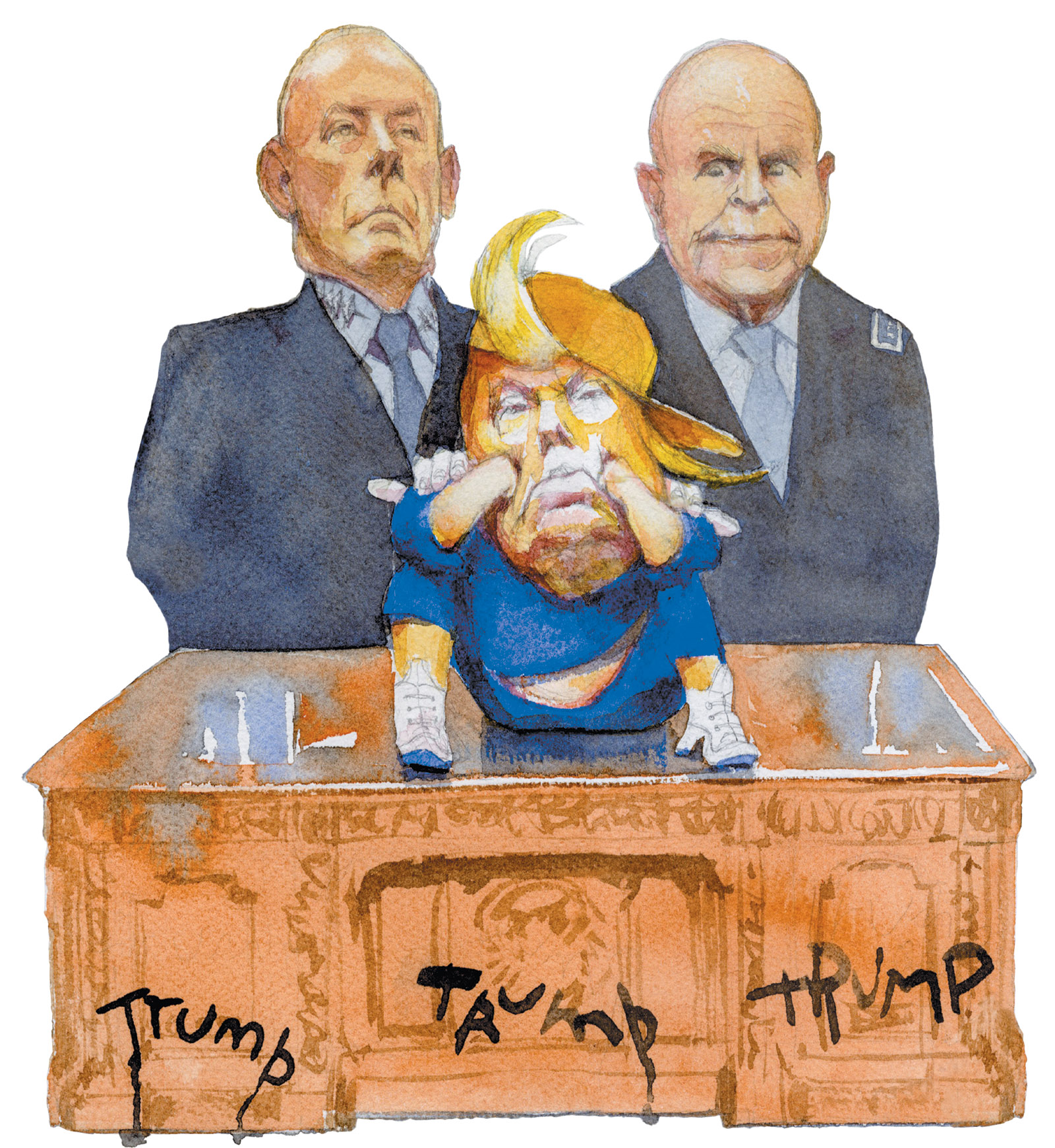 John Kelly, Donald Trump and H.R. McMaster; drawing by Siegfried Woldhek