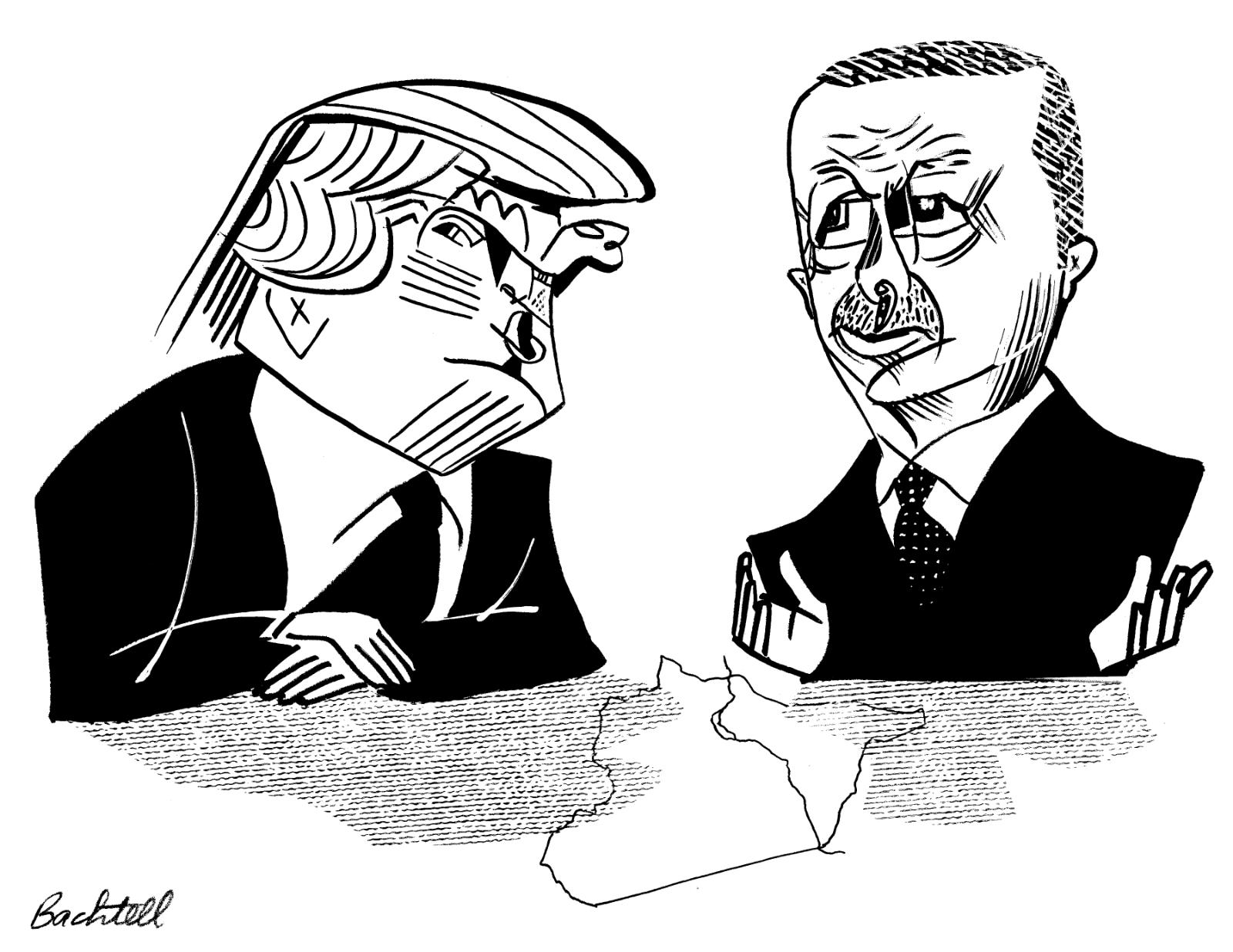 Donald Trump and Recep Tayyip Erdoğan; drawing by Tom Bachtell