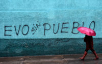 """Graffiti reading """"Evo without the people,"""" following the resignation of of Bolivian President Evo Morales after a disputed election result in October, La Paz, Bolivia, November 11, 2019"""