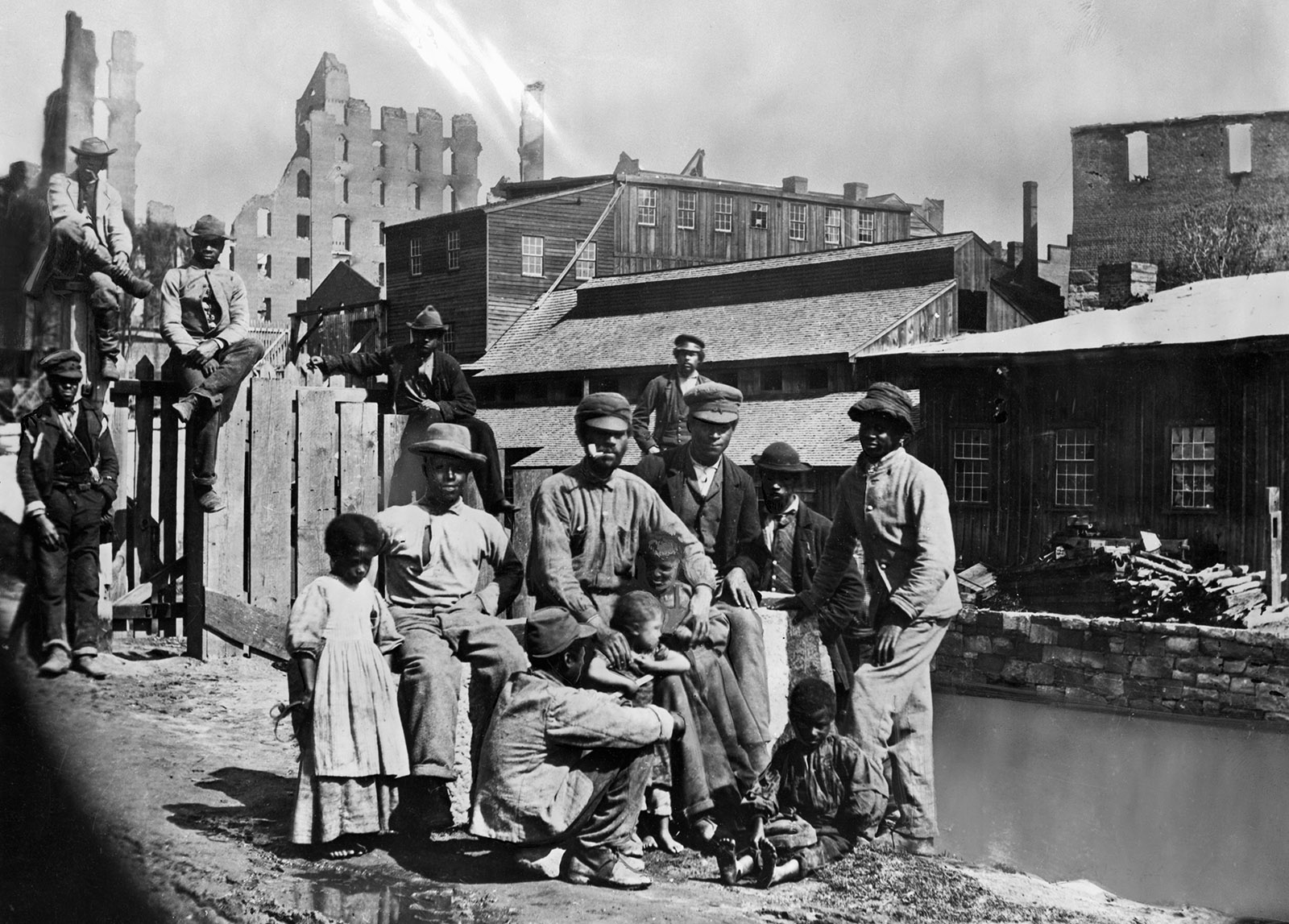 Former enslaved people in a Southern town shortly after the end of the Civil War, circa 1865