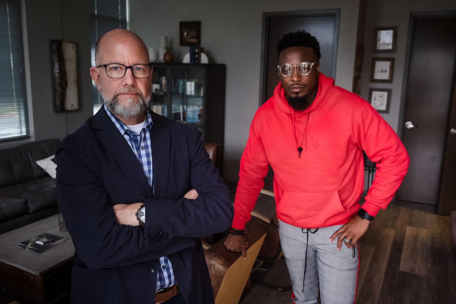 Pastors Jay Stewart and Derrick Hawkins at The Refuge church, Annapolis, North Carolina, November 2019