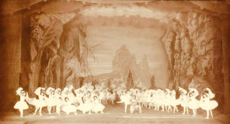 A scene in the Kingdom of the Shades from La Bayadère, 1900; from Marius Petipa: La Dansomanie, a two-volume album in three languages published last year by the St. Petersburg Museum of Theater and Music to celebrate the two hundredth anniversary of Petipa's birth