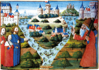 Louis the Pious (right) blessing the division of the Carolingian Empire in 843 into West Francia, Lotharingia, and East Francia; from the Chroniques des rois de France, fifteenth century