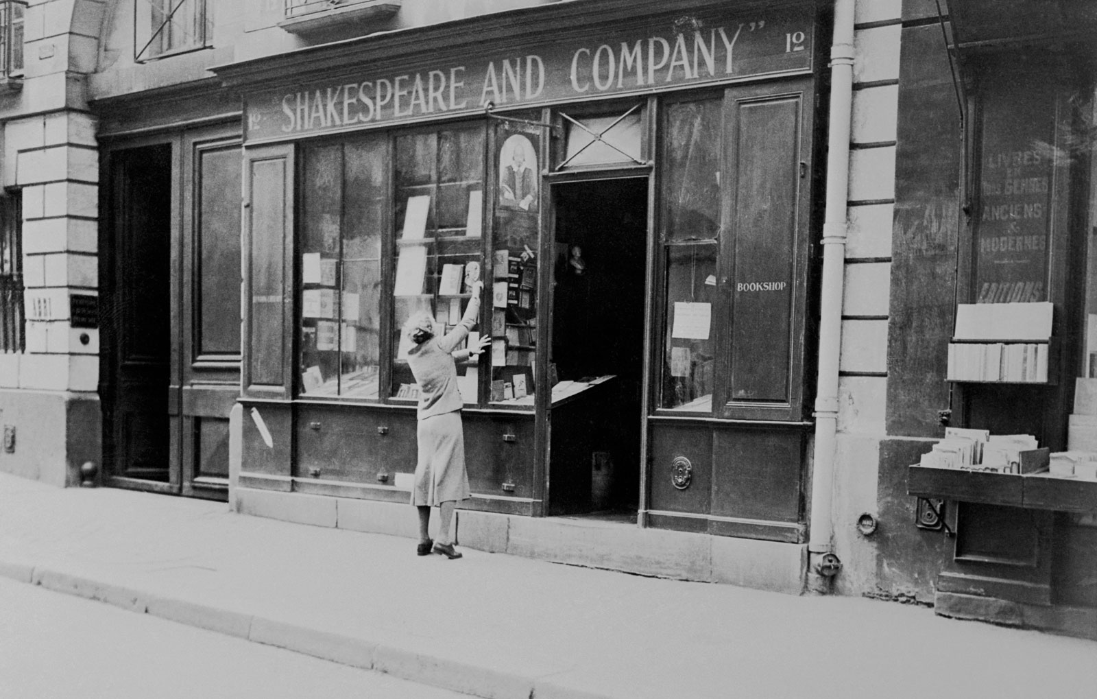 Sylvia Beach in front of her bookshop, Shakespeare and Company, Paris, May 1, 1941