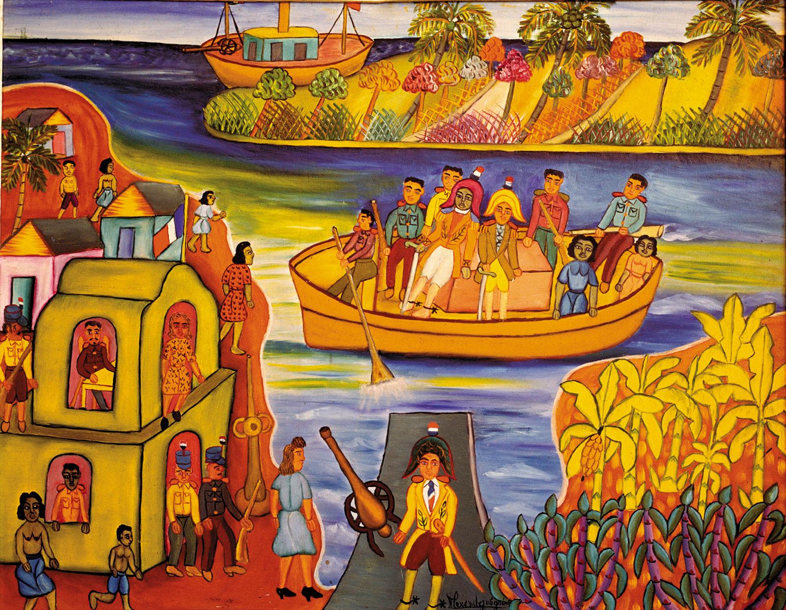 Toussaint Louverture Boarding; painting by Alexandre Grégoire