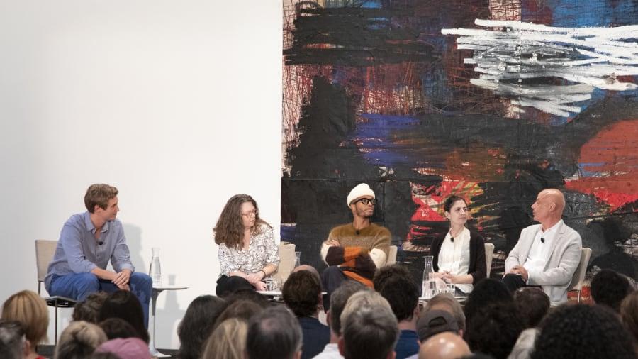 Lucas Zwirner, Manohla Dargis, Antwaun Sargent, Jillian Steinhauer, and Daniel Mendelsohn at David Zwirner Gallery, September 23, 2019