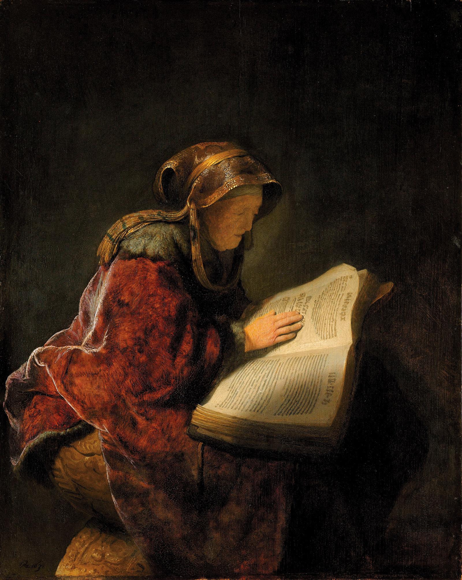 Rembrandt van Rijn's Old Woman Reading, 1631