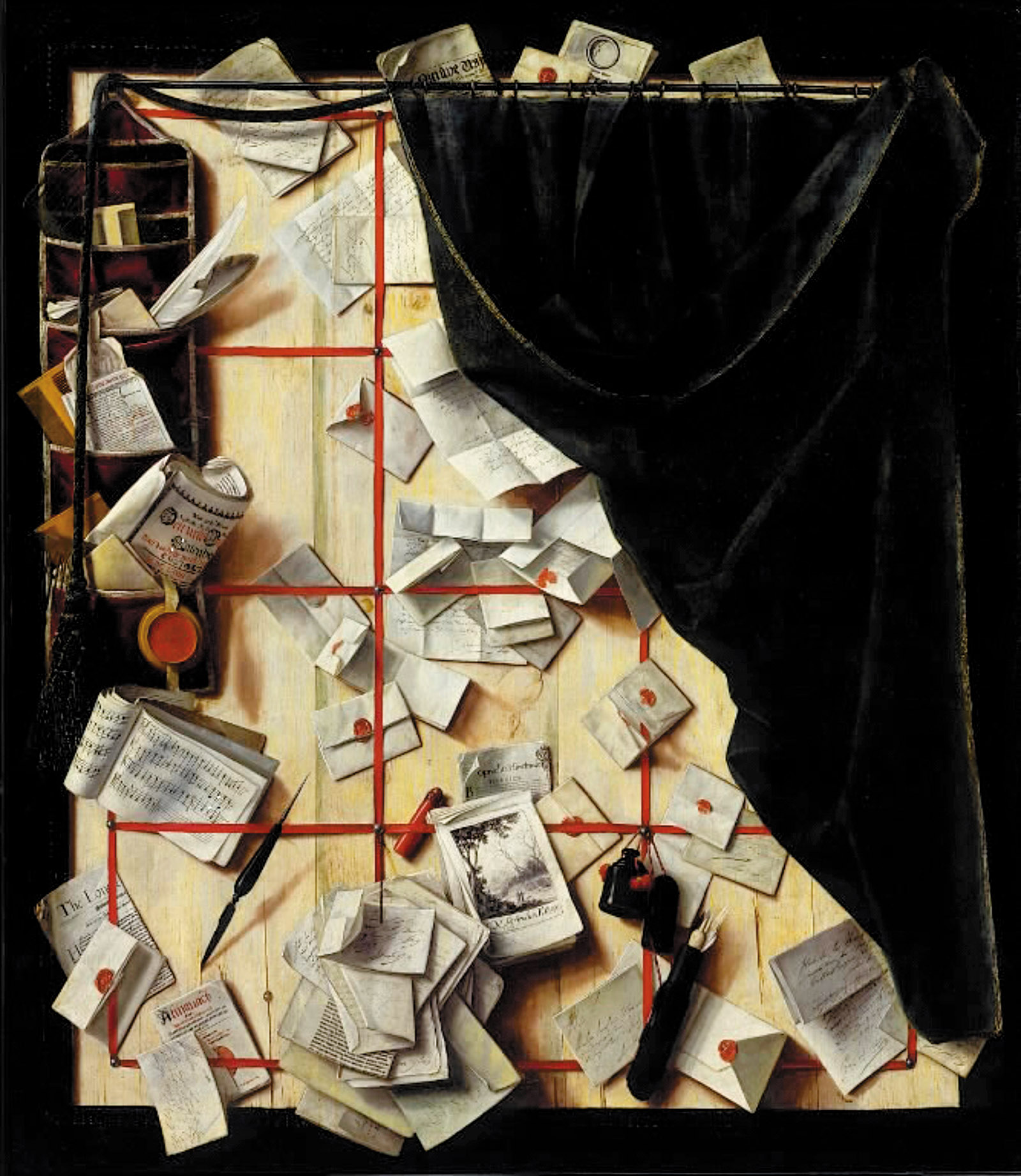 Trompe l'oeil, Board Partition with Letter Rack and Music Book, 1668; painting by Cornelius Norbertus Gijsbrechts
