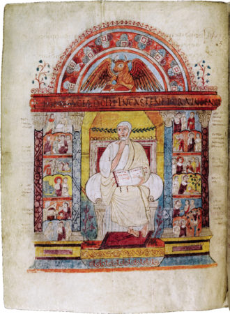A portrait of Saint Luke from the Augustine Gospel book, late 500s