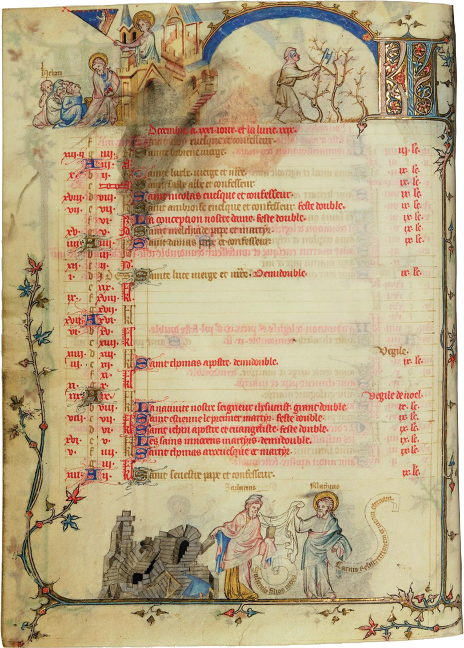 A page from the Hours of Jeanne de Navarre, depicting at top an apostle lecturing a group of Jews seated before a church and at bottom a collapsing synagogue, circa 1330s