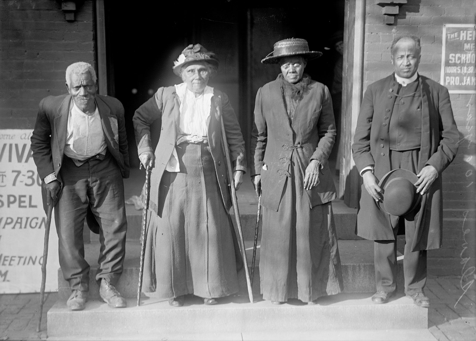 A reunion of former slaves at the Cosmopolitan Baptist Church, Washington, D.C., 1917. From left to right, Lewis Martin, 100; Martha Elizabeth Banks, 104; Amy Ware, 103; and Reverend Simon P. Drew, who was born free.