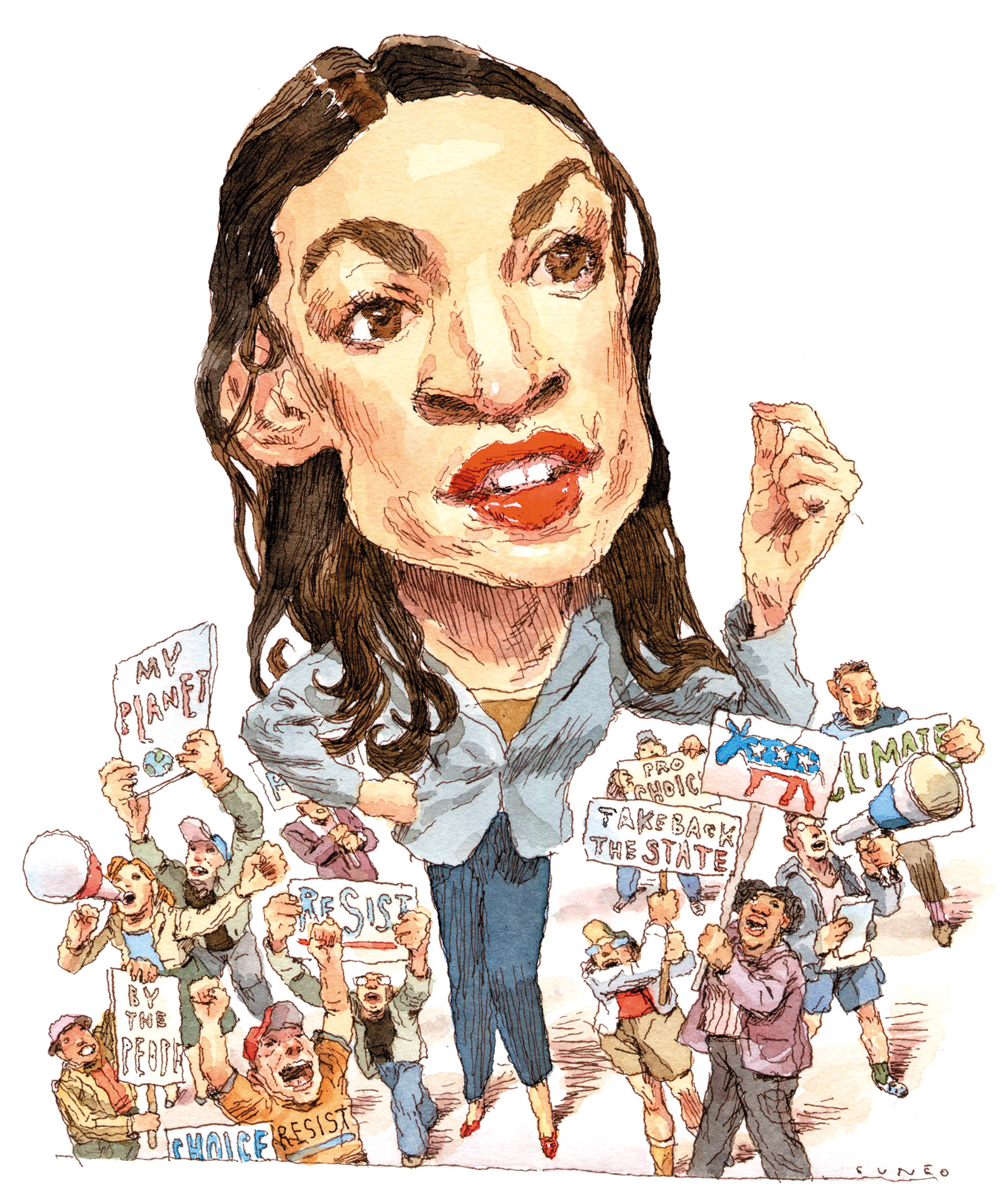 Alexandria Ocasio-Cortez; drawing by John Cuneo