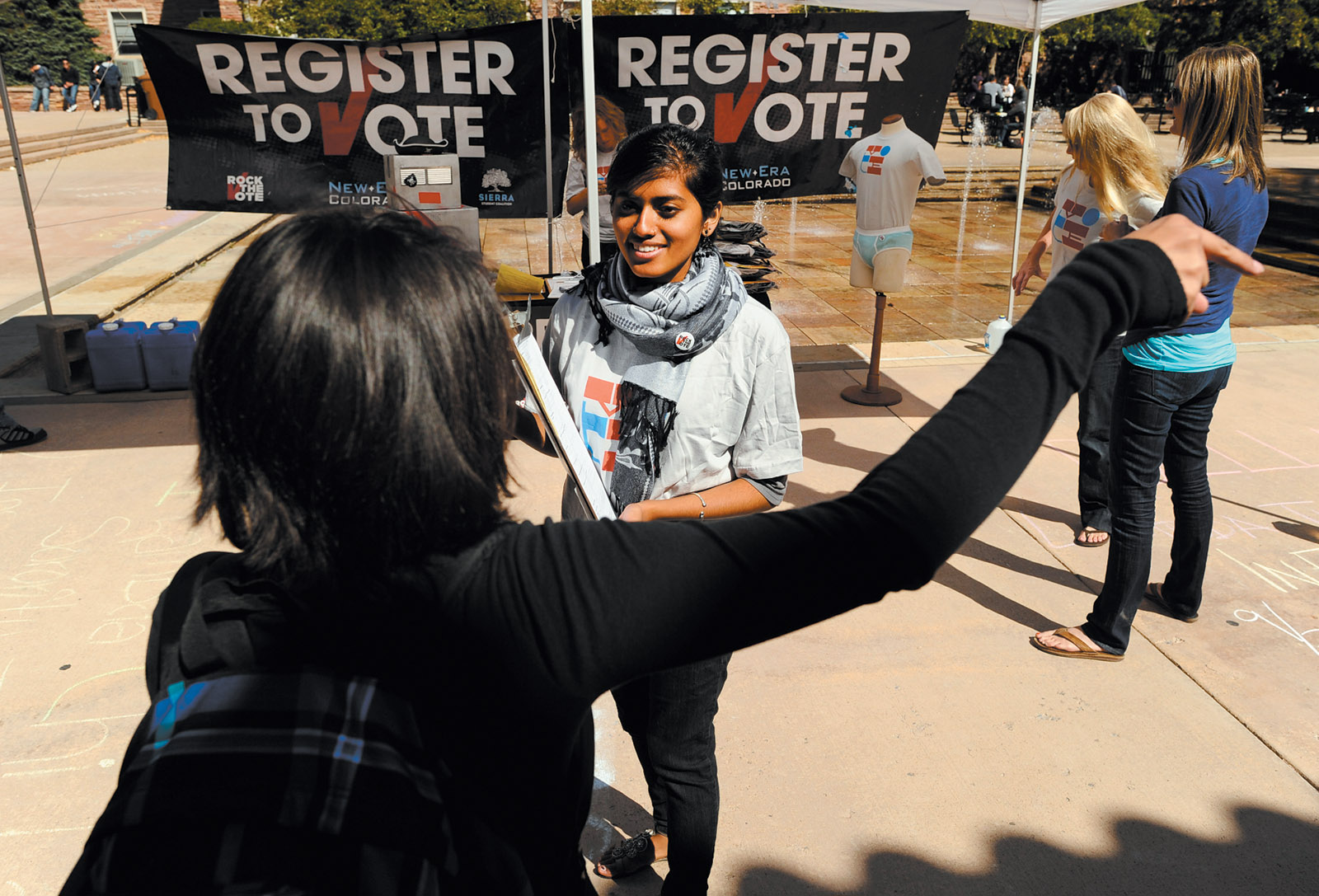 A member of the youth-based grassroots organization New Era Colorado registering voters at the University of Colorado at Boulder, September 2011