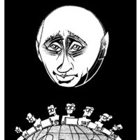 Vladimir Putin; drawing by Tom Bachtell
