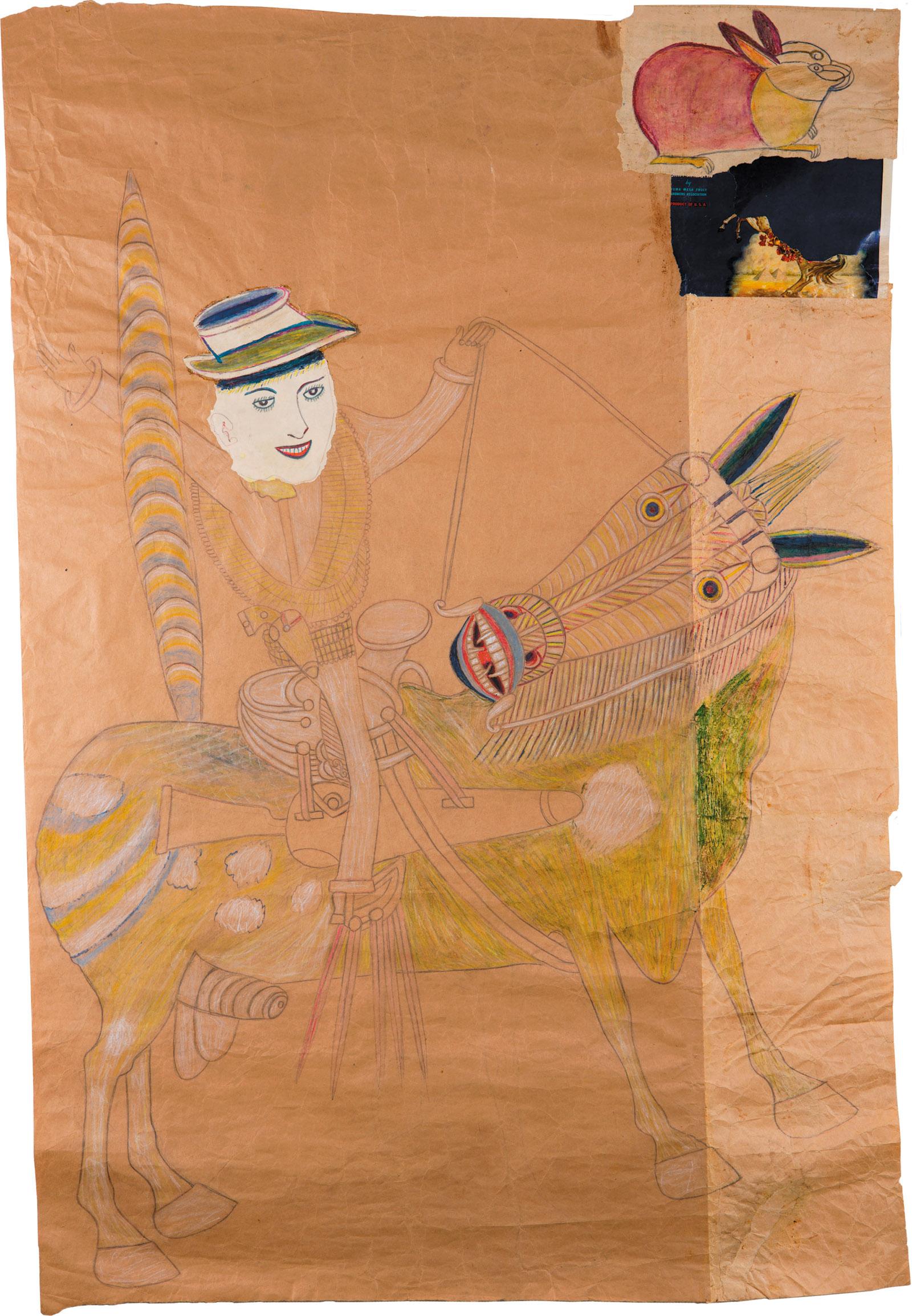 Martín Ramírez: Untitled, 45 1/2 x 31 inches, circa 1948–1952