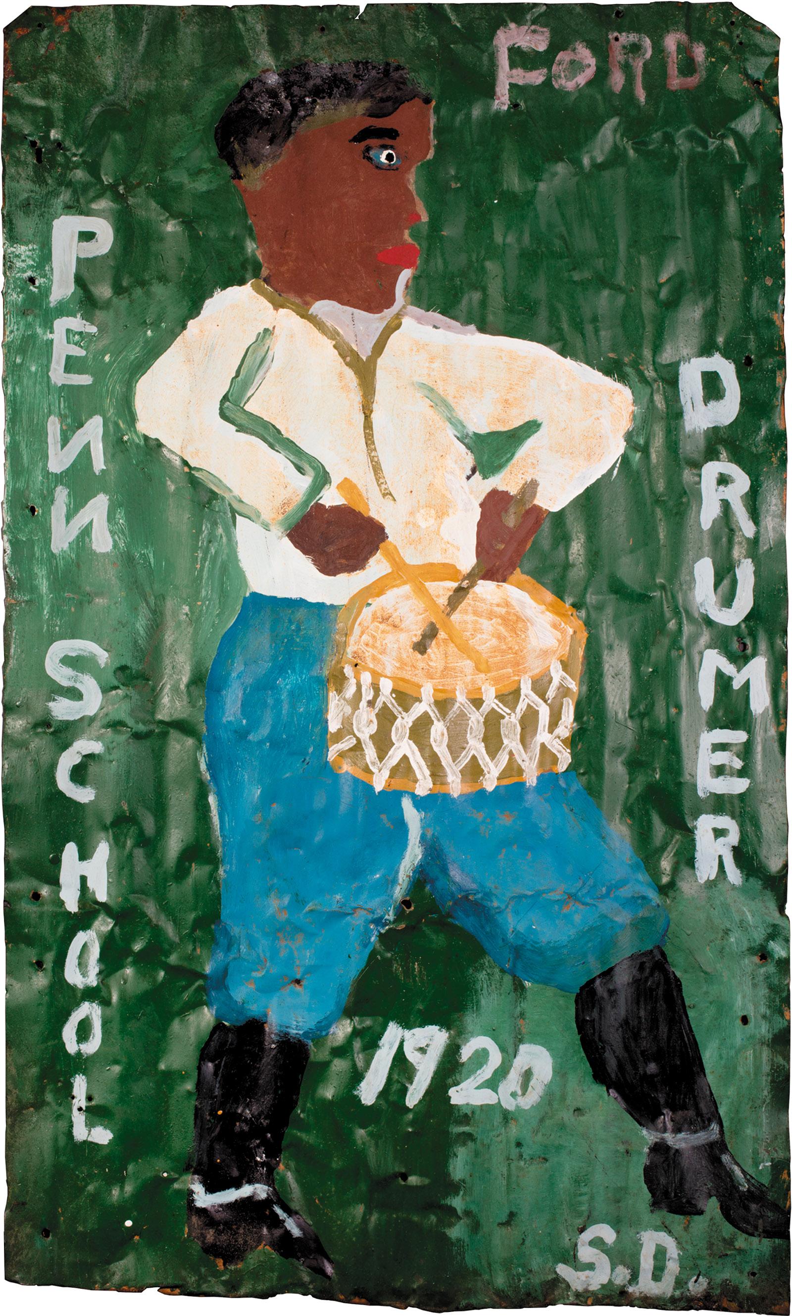 Penn School Drumer 1920; painting by Sam Doyle