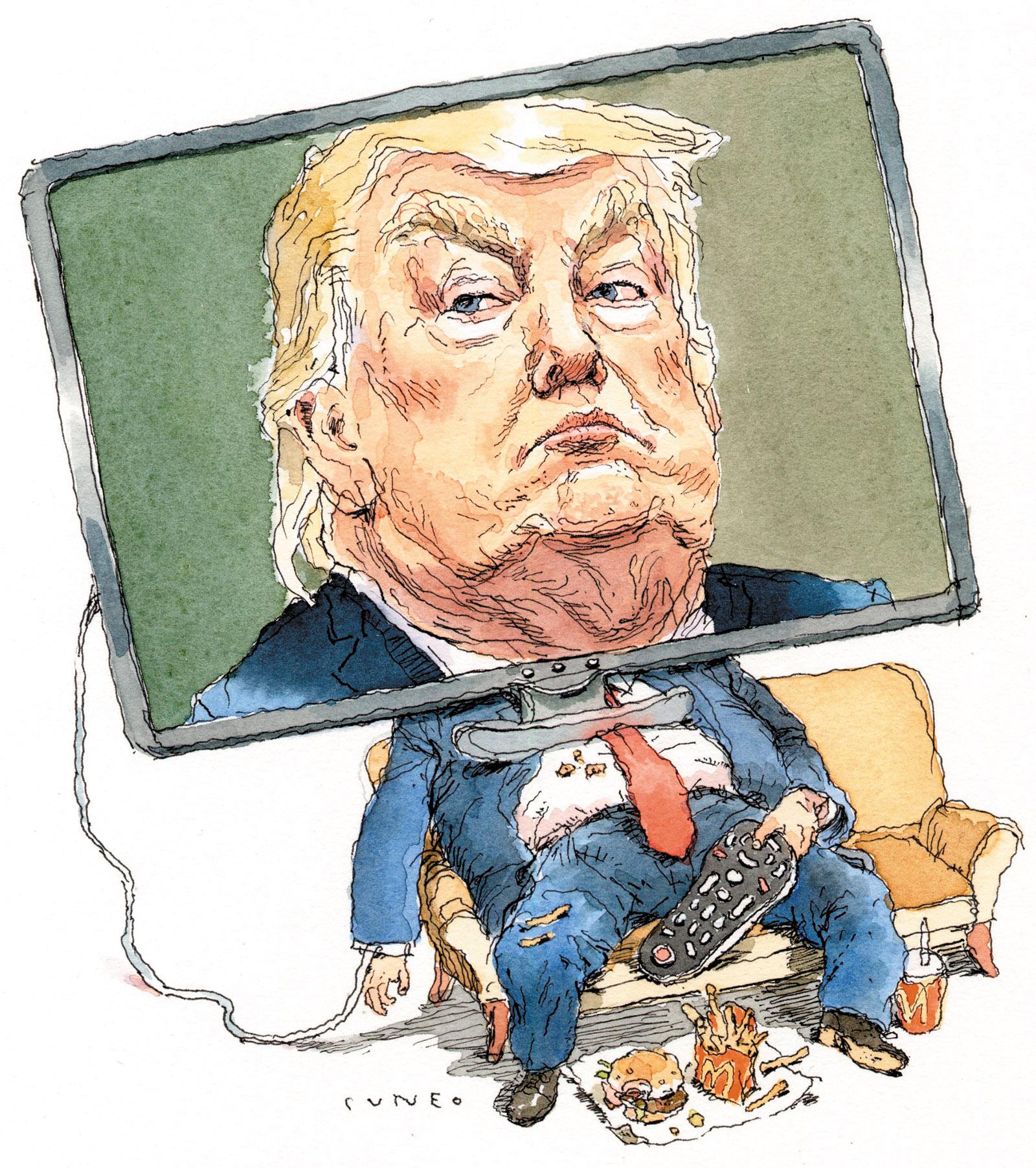 Donald Trump; drawing by John Cuneo