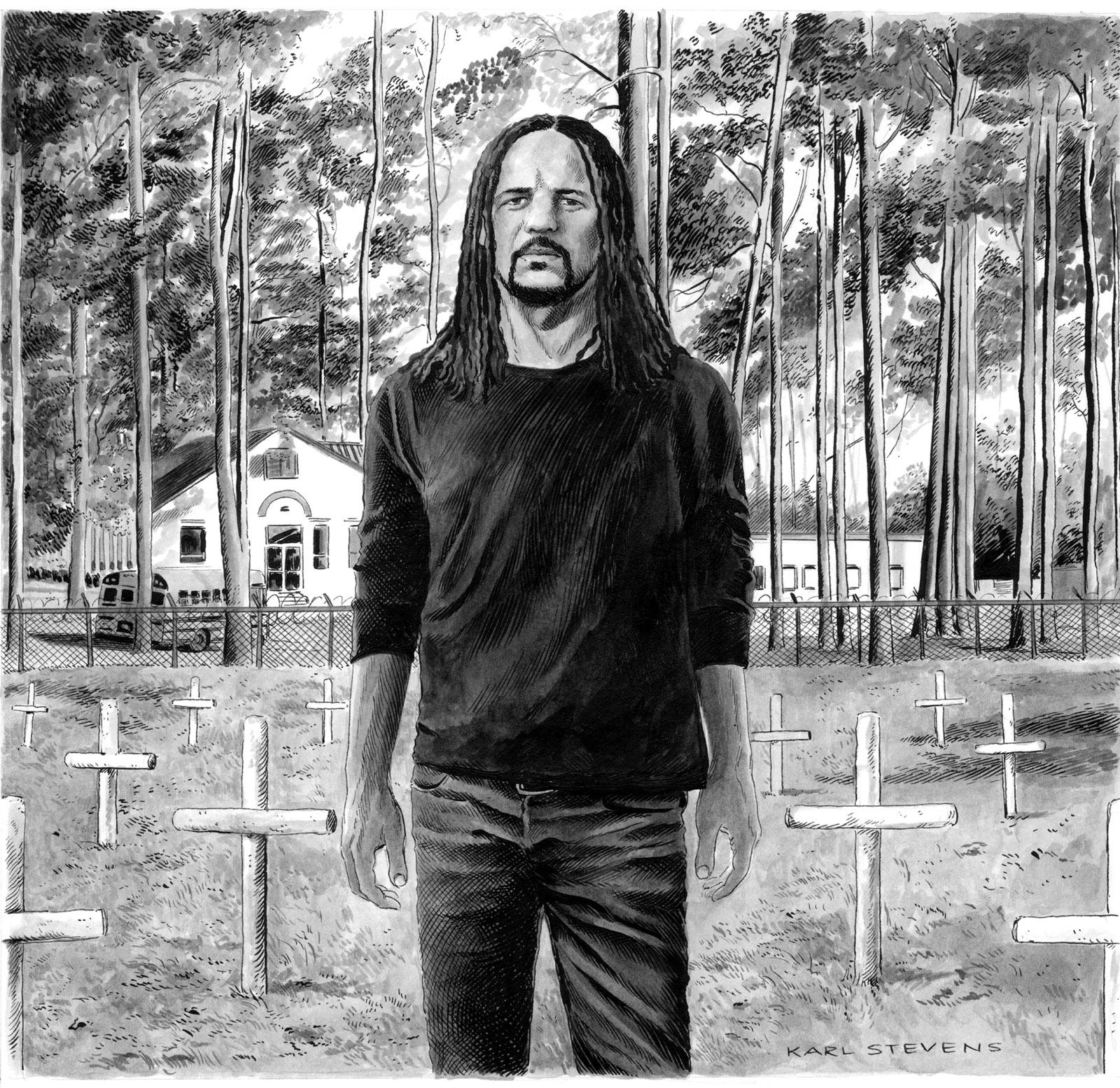 Colson Whitehead; drawing by Karl Stevens