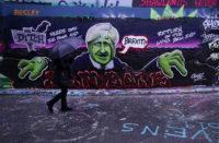 A mural depicting Prime Minister Boris Johnson, London, December 12, 2019