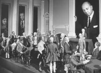 An animated diorama depicting the 1787 Constitutional Convention on display in the Time-LIFE building, New York City, circa 1962