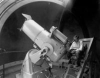 Fritz Zwicky at the Schmidt telescope at Palomar Observatory, California, circa 1936