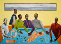 Lubaina Himid: Six Tailors, part of a diptych with Close Up – Materials for Change, 2019
