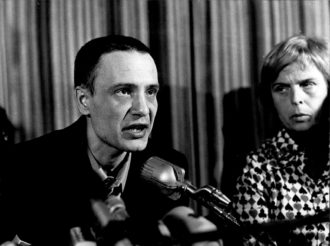 Russian dissident Vladimir Bukovsky at a press conference after his release from prison and expulsion from the Soviet Union, Zurich, December 1976