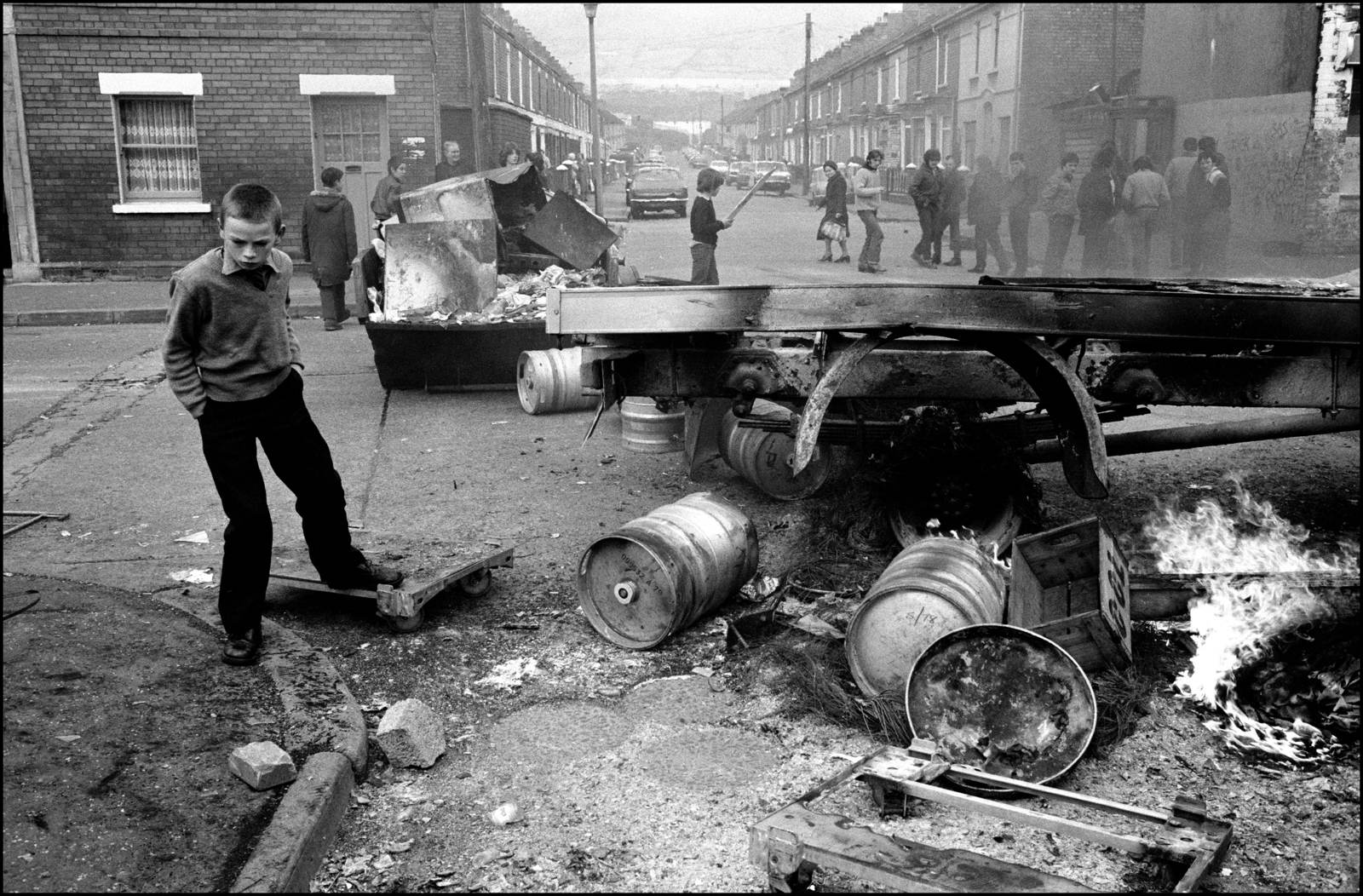 Wreckage forming a barricade after a riot, Belfast, Northern Ireland, 1981