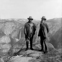 Theodore Roosevelt and John Muir, Glacier Point, Yosemite National Park, California, 1903
