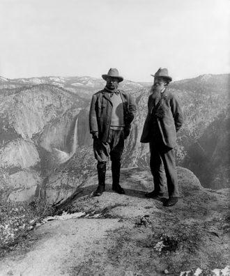 Theodore Roosevelt and John Muir, Glacier Point, Yosemite National Park, California, 1903
