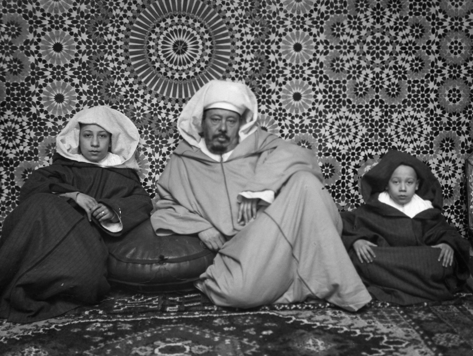 A father with his sons at home, Fez, Morocco, 1932