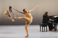Dancers Christine Flores and Melissa Toogood, with Simone Dinnerstein at the piano, in New Work for Goldberg Variations, the Joyce Theater, New York, 2019
