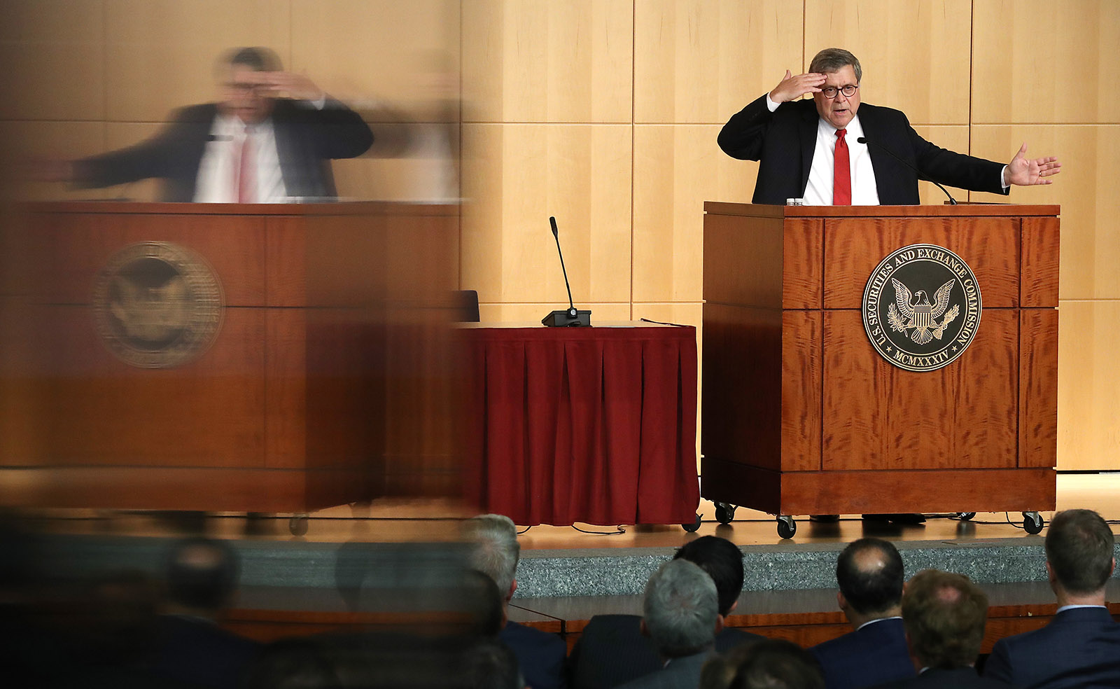 Attorney General William Barr delivering remarks to a conference held at the Securities and Exchange Commission, Washington, D.C., October 03, 2019