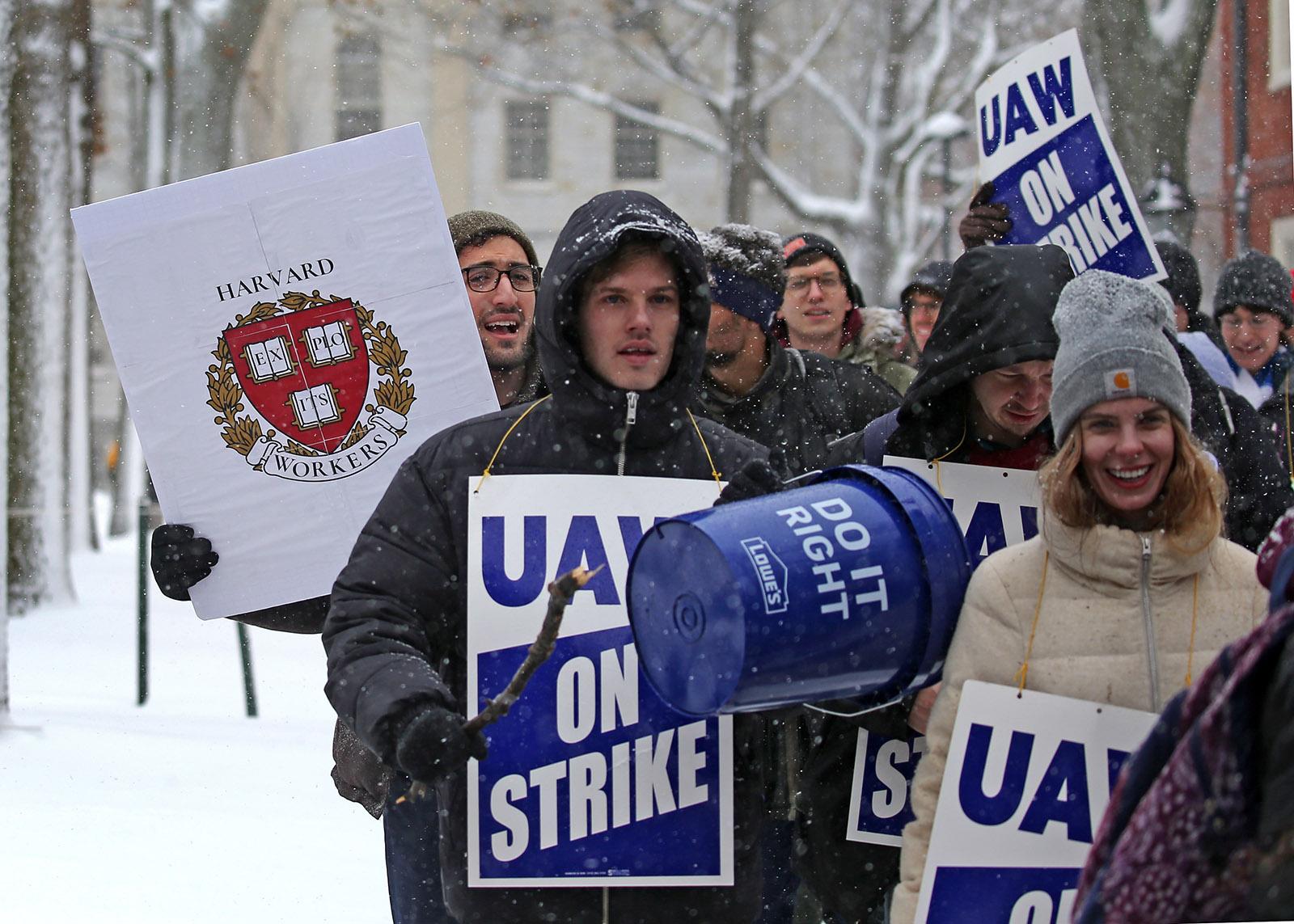 Striking Harvard graduate students marching