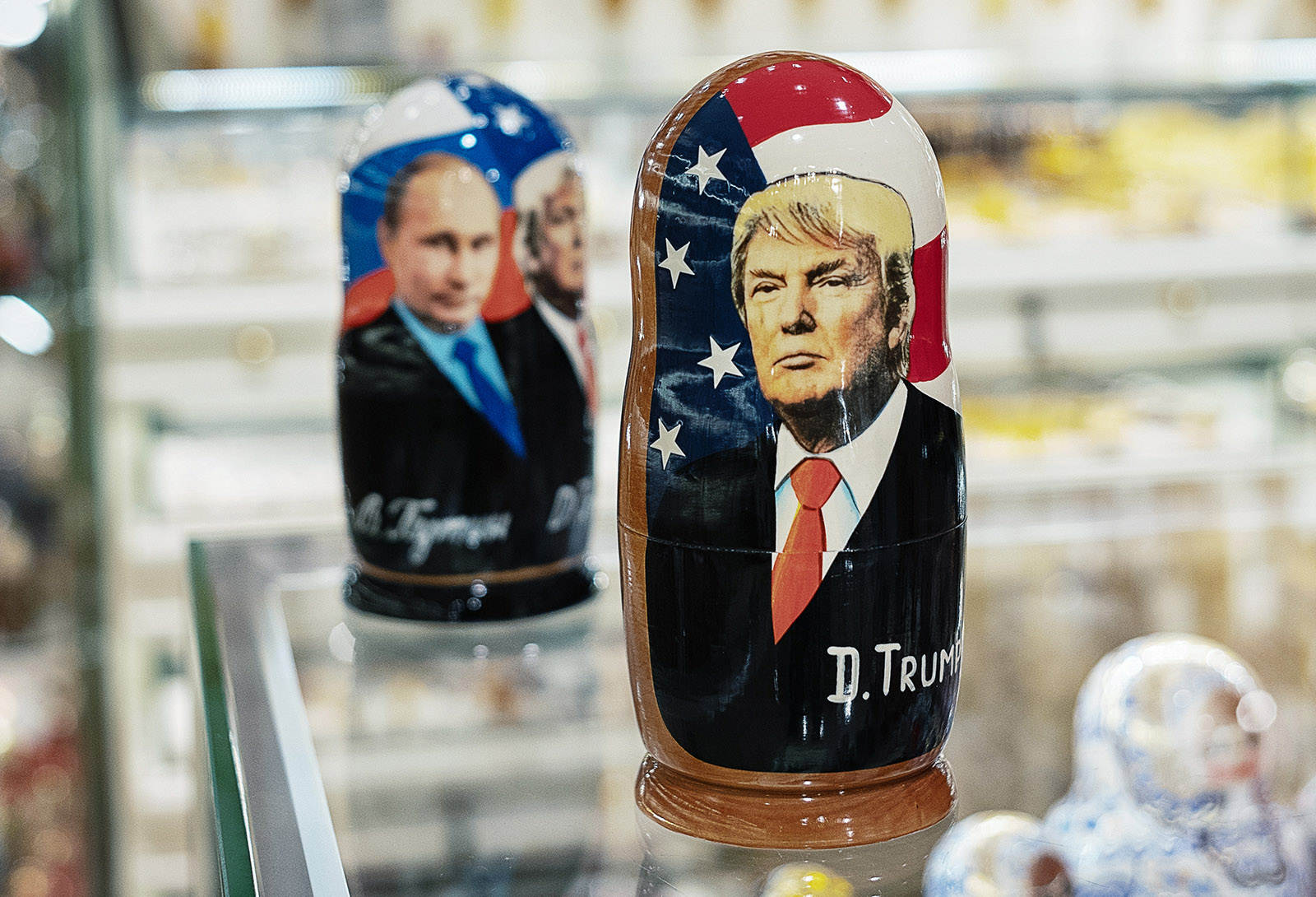 Matryoshka dolls featuring Russian President Vladimir Putin and US President Donald Trump