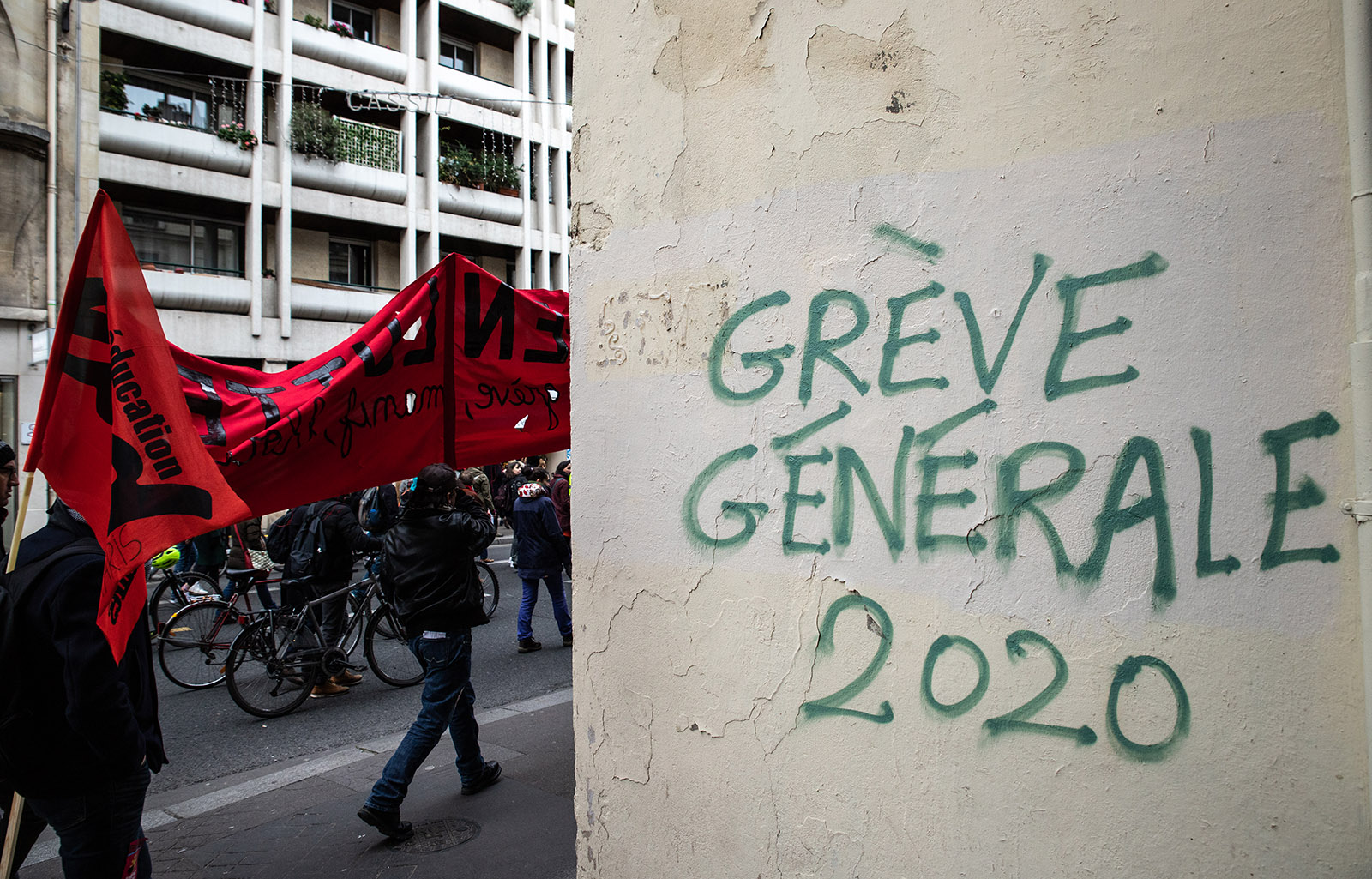 Graffiti and demonstration in Paris, France