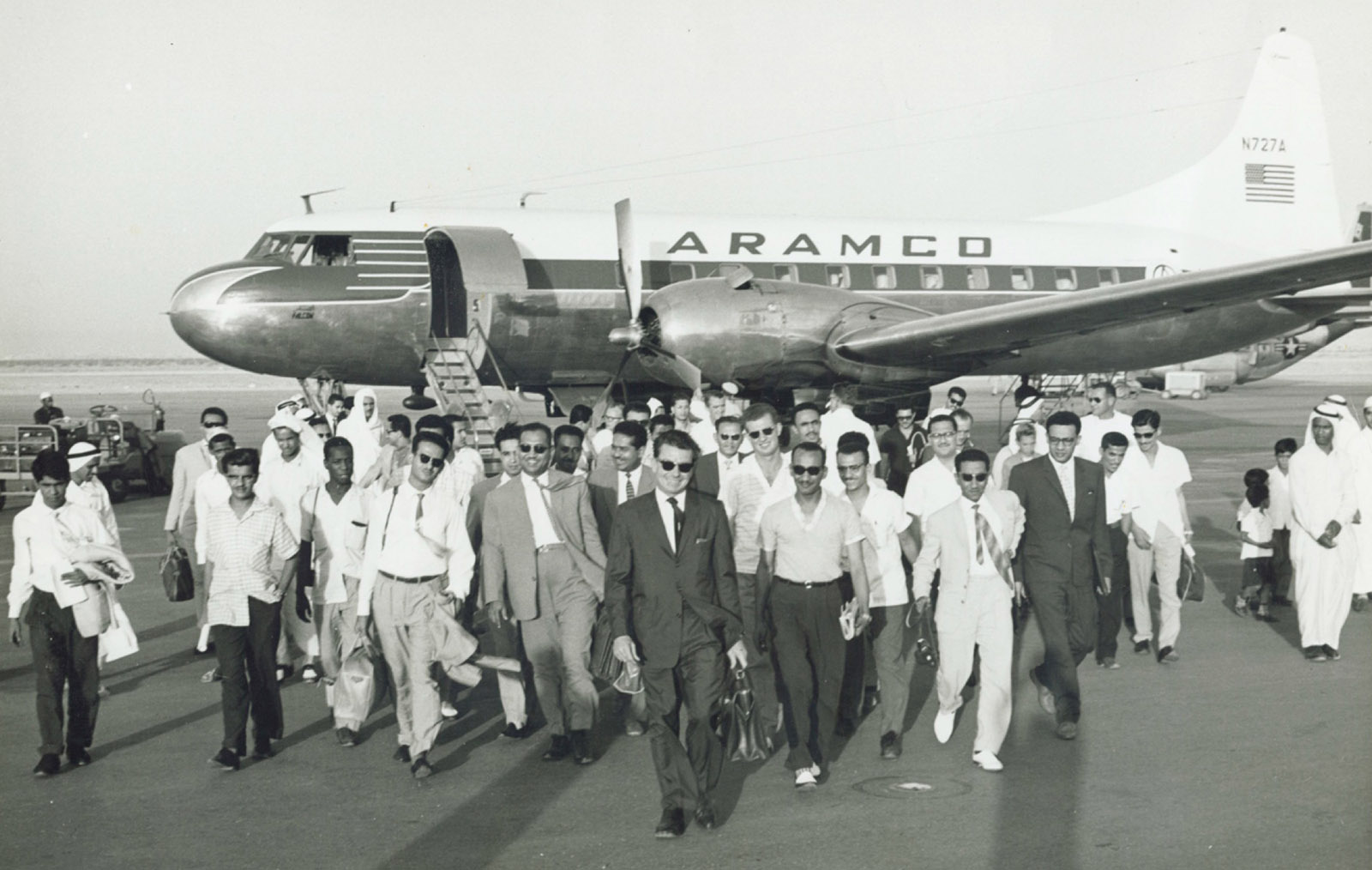 A group of Aramco recruits arriving in Saudi Arabia, 1950s