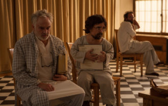 Bradley Whitford as Clyde, Peter Dinklage as Joseph, and Walton Goggins as Leon in Three Christs, directed by Jon Avnet