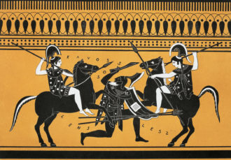Duel between Amazons, illustration from Collection des vases grecs de le Comte de M Lamberg, by Alexandre de Laborde, nineteenth century