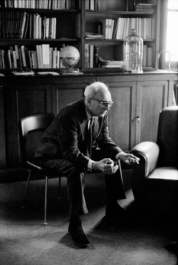 Claude Lévi-Strauss in his office in Paris, 1969