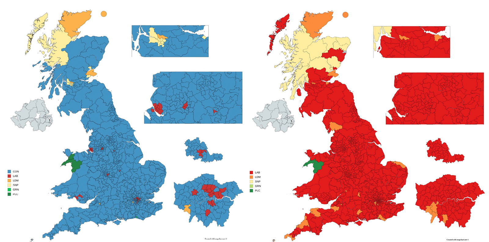 UK election maps of projected results