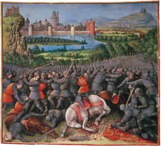 A battle during the First Crusade; illustration from Sébastien Mamerot's Les Passages d'Outremer, circa 1474