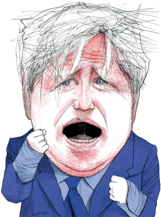 Boris Johnson, drawing by John Springs