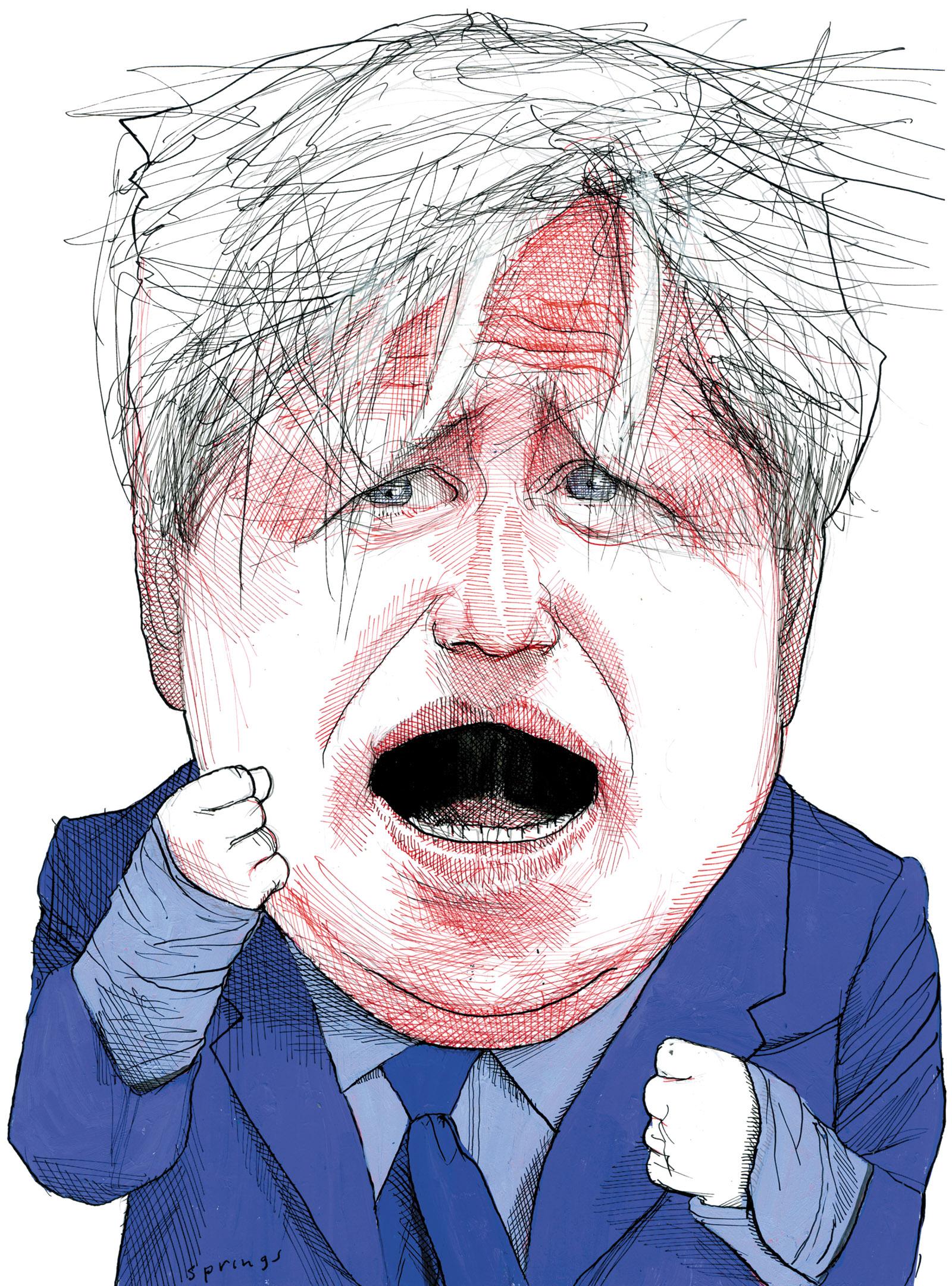 Boris Johnson, drawing by John Springs