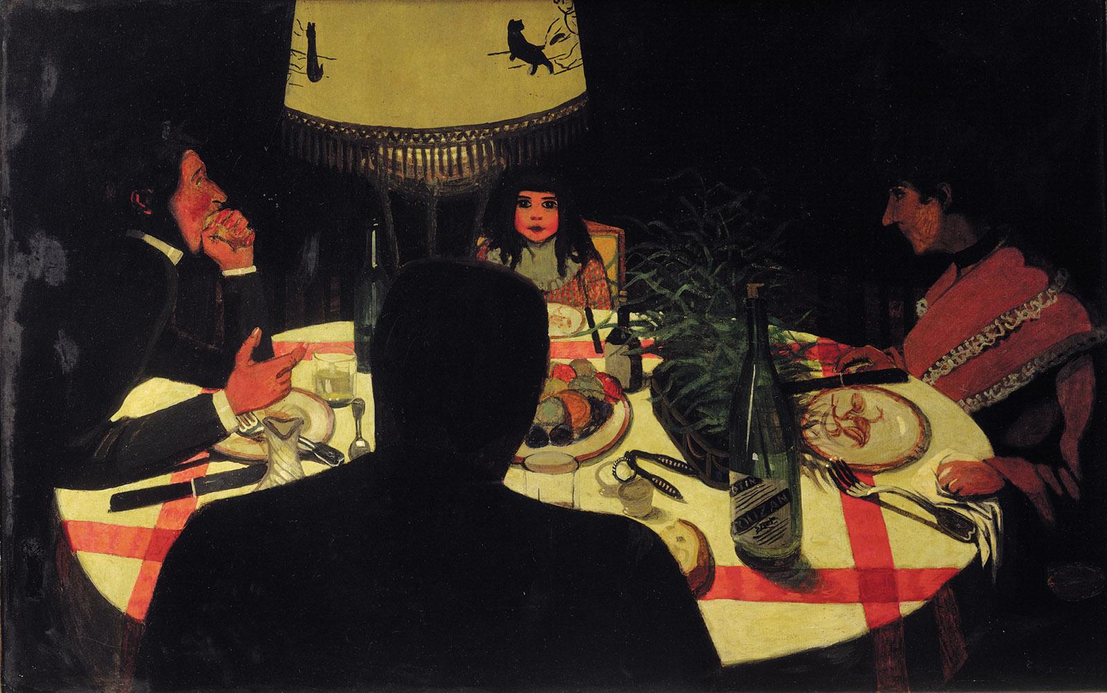 Félix Vallotton: Dinner by Lamplight, 22 1/2 x 35 1/4 inches, 1899
