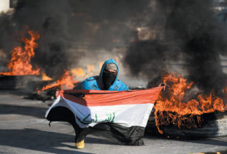 An Iraqi protesting the use of his country in the conflict between the US and Iran, Najaf, January 2020