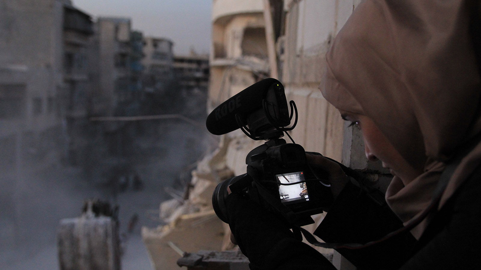 """For Sama"" director filming ruins in Aleppo, Syria, 2016"