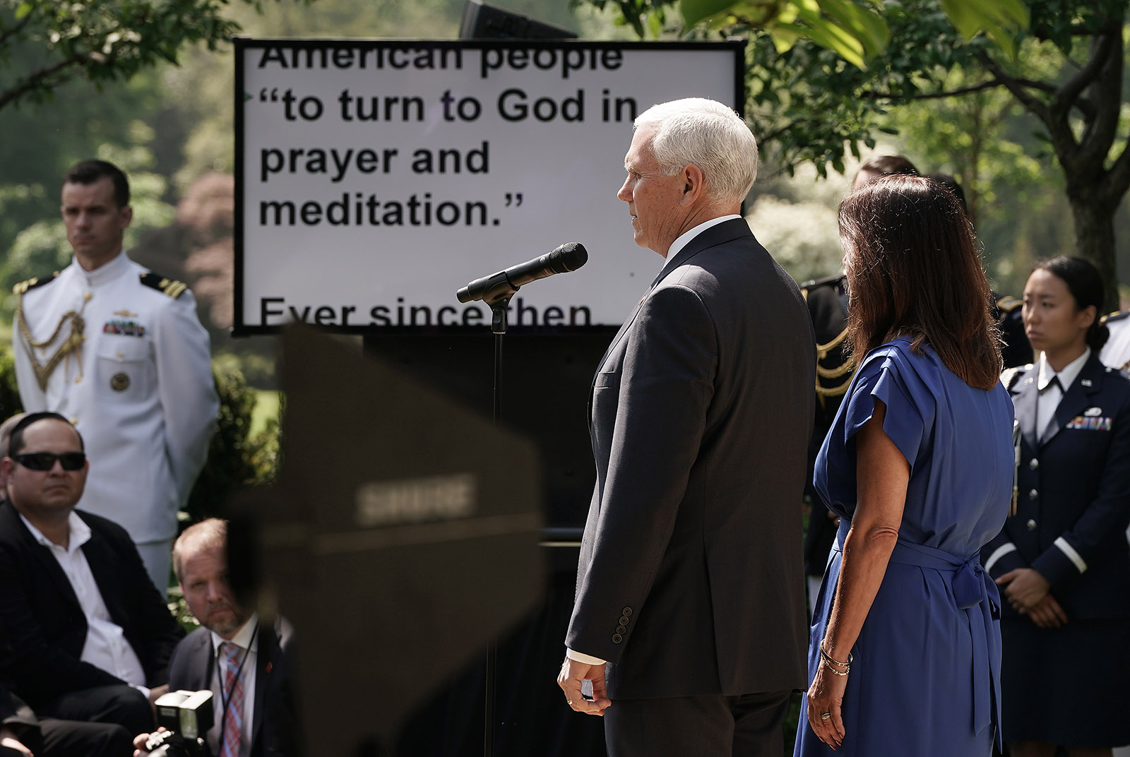 Vice President Mike Pence and Karen Pence participating in a National Day of Prayer service